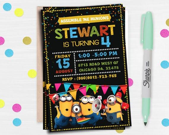 Gunstling Einladung Minion Geburtstags Einladung Minion Etsy