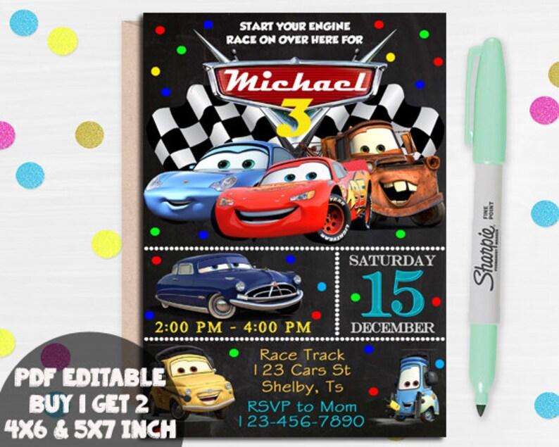 Cars Invitation Disney Cars Birthday Invitation Disney Cars Etsy
