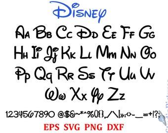 Walt Disney Font Svg Alphabet Dxf Png Letters Calligraphy Printables Fonts