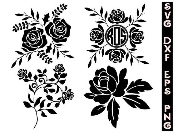 silhouette roses svg roses clipart flowers svg cut files