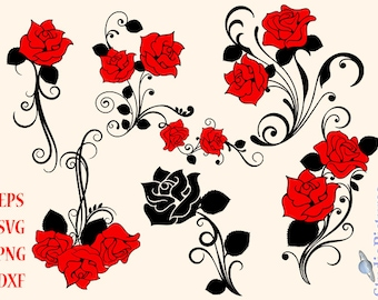 Red Rose svg, rose silhouette, rose clipart - rose blossom, clip art red roses, svg, flowers svg, red roses dxf, png, t-shirts svg, cut file