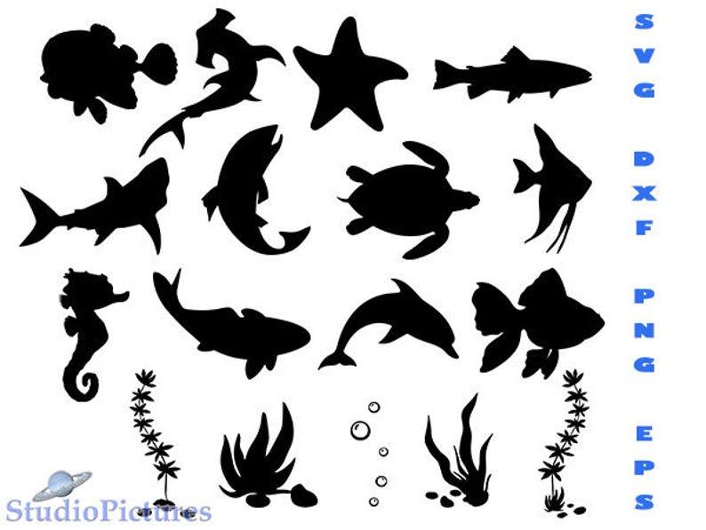 Fish Svg Fish Cricut Fish Silhouette Svg Sea Creatures Svg Etsy
