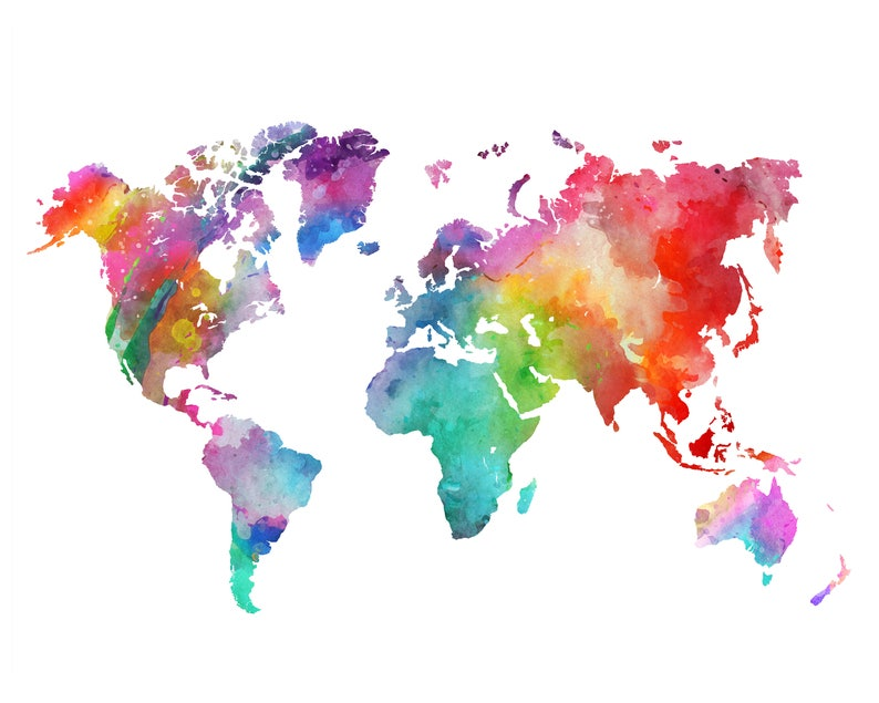 Rainbow World Map Printable Colorful Watercolor World Map Wall Etsy