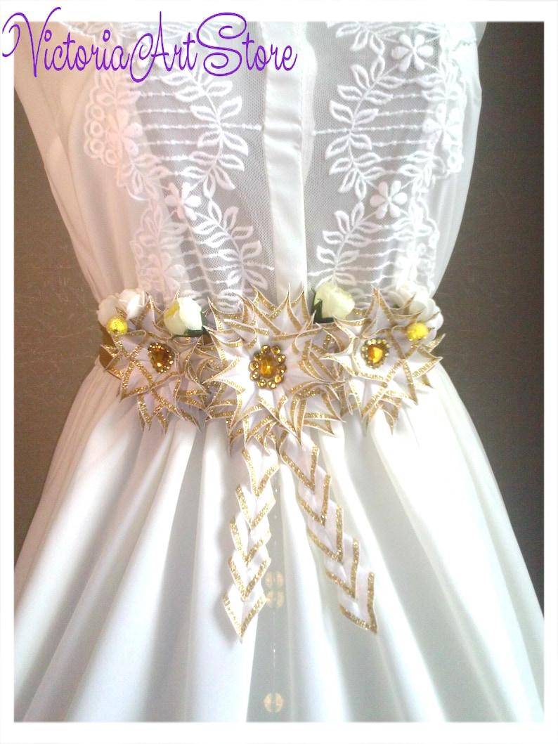 4fd6e460e7a White-Gold Sash Belt Gold Flower Sash White Gold Baby