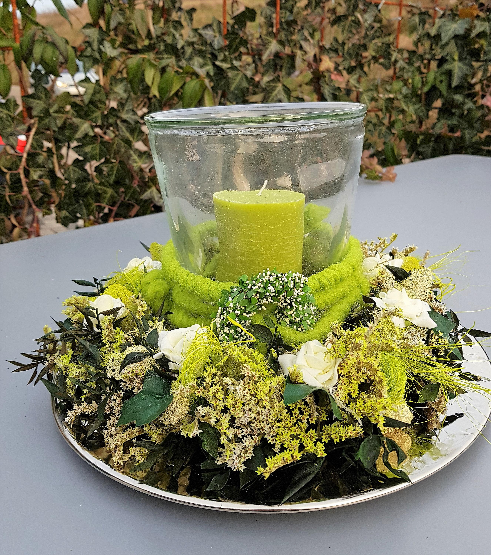 3 Tlg Sommer Tischkranz Windlicht Tischdeko Muttertag Blumenkranz
