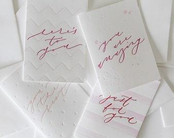 Pack of 4 - General Letterpress Greeting Cards