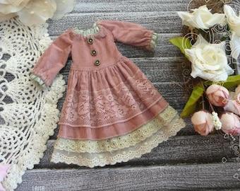 Blythe pink dress vintage style clothes / Pullip velvet dress clothes /pink vintage dress