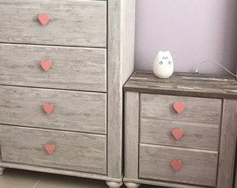 Farmhouse Style Knobs  Dresser Door Cabinet Pulls  Distressed Pale Pink  Girl/'s Room Decorating  Fixer Upper  Flower Design