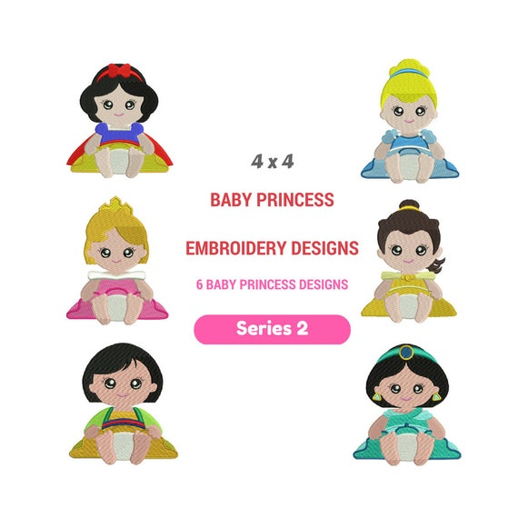 Baby Disney Embroidery Patterns Baby Disney Princess Etsy