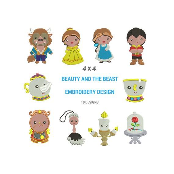 Belleza y los diseños de bordado de la bestia Diseño del | Etsy
