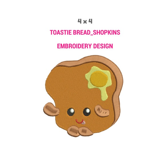 toastie bread embroidery design shopkins cute embroidery etsy