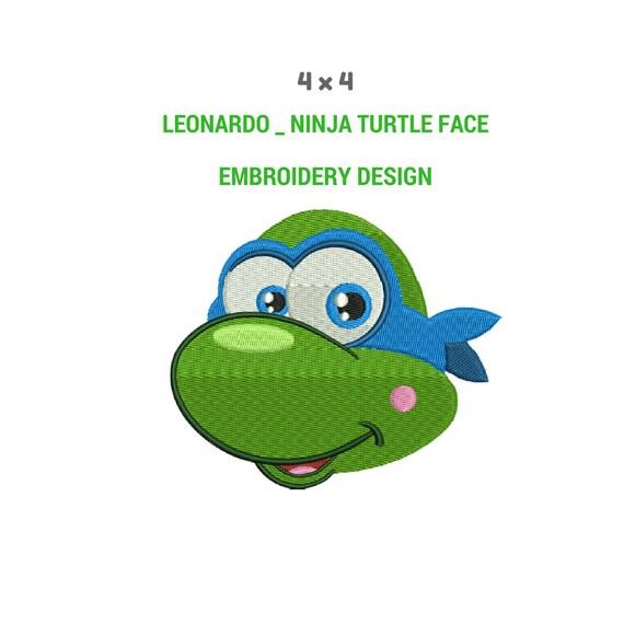 Cara de tortuga Leonardo Ninja arte del bordado Diseño del | Etsy