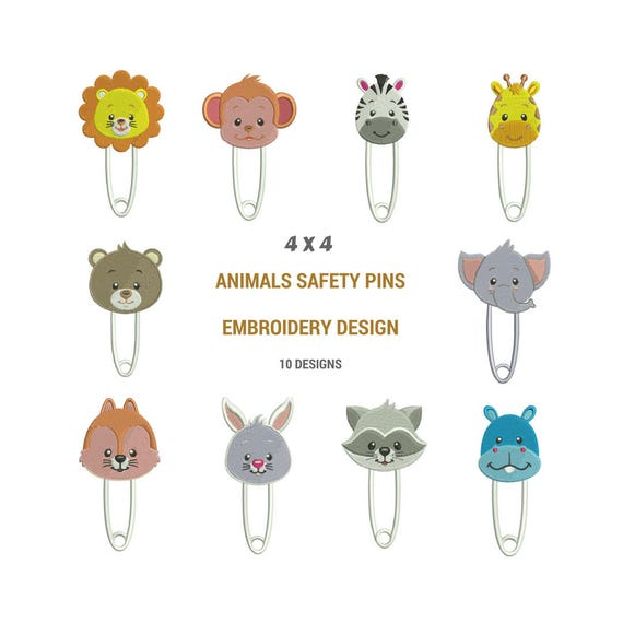 Animal Safety Pins Embroidery Designs Stitch Cute Embroidery Etsy