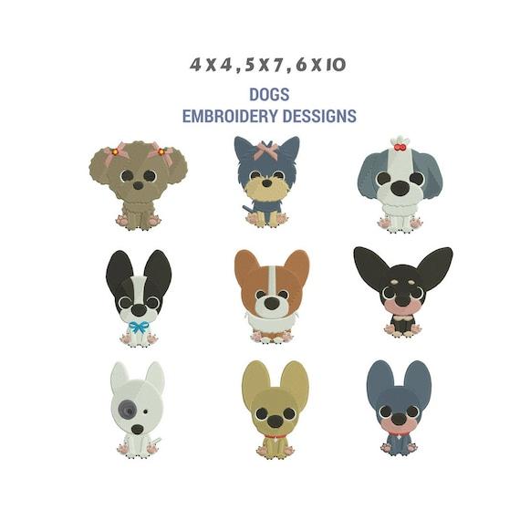 Diseños de bordado para perros Diseño del bordado de la | Etsy