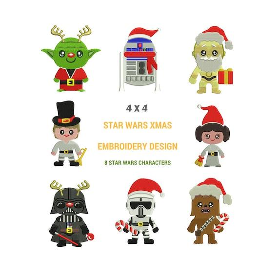 Diseños de bordados de Navidad de Star Wars Diseño del | Etsy