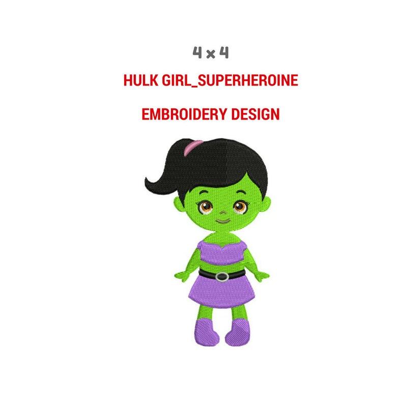 Disegno Di Ricamo Della Ragazza Di Hulk Ragazza Macchina Etsy
