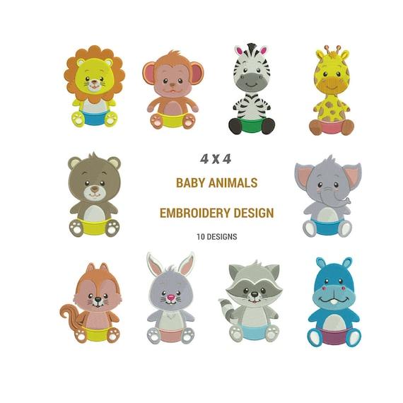 Diseños de bordados de animales para bebés Diseños de | Etsy