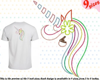 Unicorn Outline Embroidery Design Machine Instant Download Commercial Use  Digital File Icon Symbol Sign Cute Happy Girl Horn Cute Smily 180b