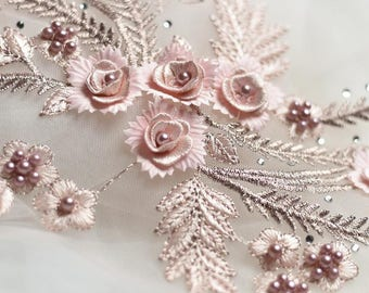 1 Pair Wedding Bridal 3D Flower Embroidery Rhinestone Bead Pink Lace Applique TP01