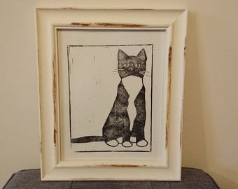 Black and White Moggy - A4 Linocut Print