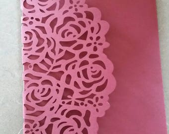 Set of 100 Rose Laser cut pocketfold