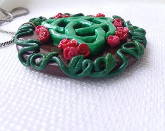 OOAK | Celtic Triquetra Pendant | Roses & Vines | Polymer Clay