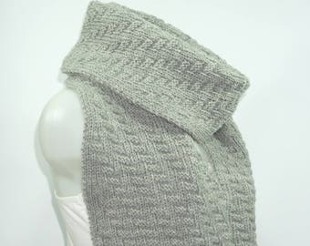 Knit scarf, long knit scarf, knit shawl, chunky Knit scarf in gray, men knit scarf, women knit scarf