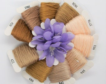 Embroidery floss set of Peruvian cotton threads 10 cards 4m4.37yd each card. 10 shades