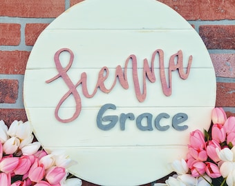 Nursery Baby Name Sign - Hand Scrolled Children's Name sign - Baby Shower Gift