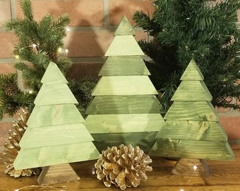 Rustic Wooden Christmas Tree - Chunky Reclaimed Wood Table Christmas Decoration