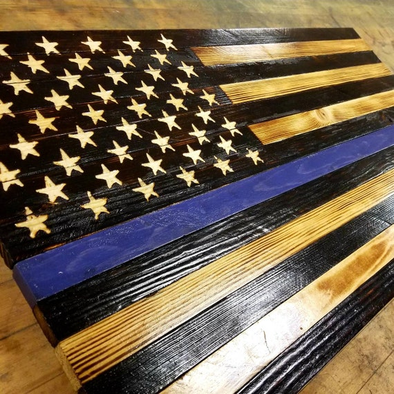 THIN BLUE LINE Large Rustic American Flag Challenge Coin Display