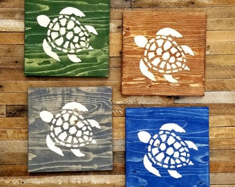Rustic Wooden Carved Turtle Wall Decor - Hand Carved Reclaimed Wood Sea Turtle - Ocean Theme Underwater Theme Nursery Children Room
