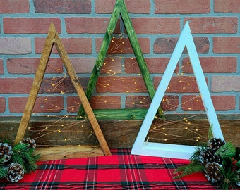 Rustic Wooden Light Up Christmas Tree - Reclaimed Wood Mantle Christmas Decoration