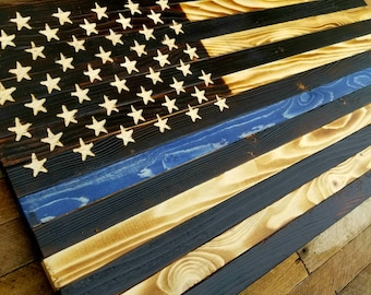 Rustic Wooden American Flag - Thin Blue Line Police Indoor Outdoor 24 3/4 x 13