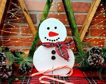 Rustic Wooden Christmas Snowmen -  Reclaimed Christmas Tree Stump Snowman