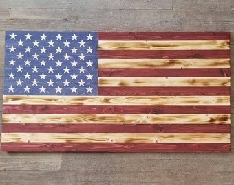 Extra Large 4 foot Wooden American Flag made from reclaimed wood