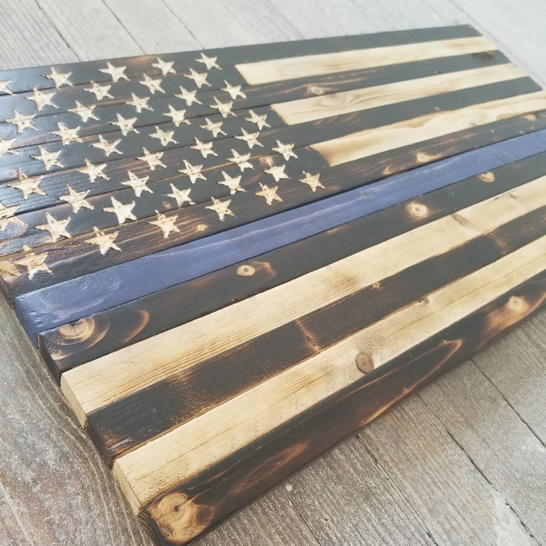 Rustic Wooden American Flag Thin Blue Line Police Indoor Outdoor 24 34 X 13