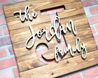 Reclaimed Wood Monogram Cutout - Personalized Last Name Sign - Rustic Wedding Gift Anniversary Housewarming