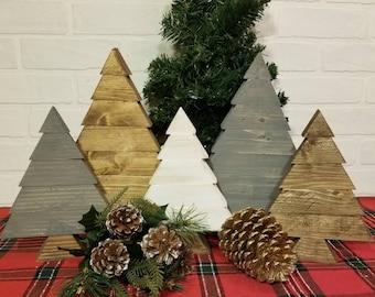 Neutral Rustic Christmas Tree - Rustic Neutral Christmas Decor - Reclaimed Wood Block Christmas Trees