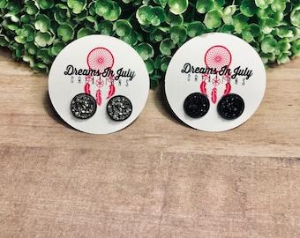 Black Earrings, Gunmetal Earrings, Gunmetal Studs, Black Studs, Druzy Earrings, Dark Grey Studs, Dark Grey Earrings, Jewelry, Silver Studs