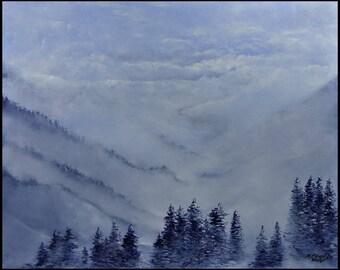 Misty mountains oil landscape painting