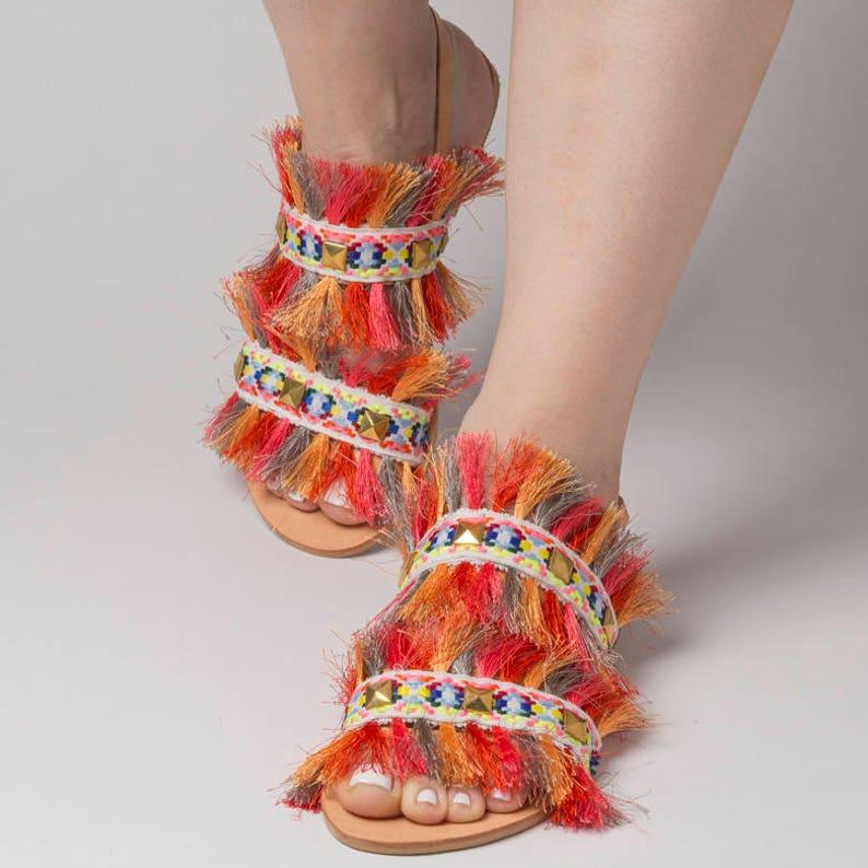 2c4e3d6fdf95 Free ShippingGreek sandals Summer Rainbow Fringe