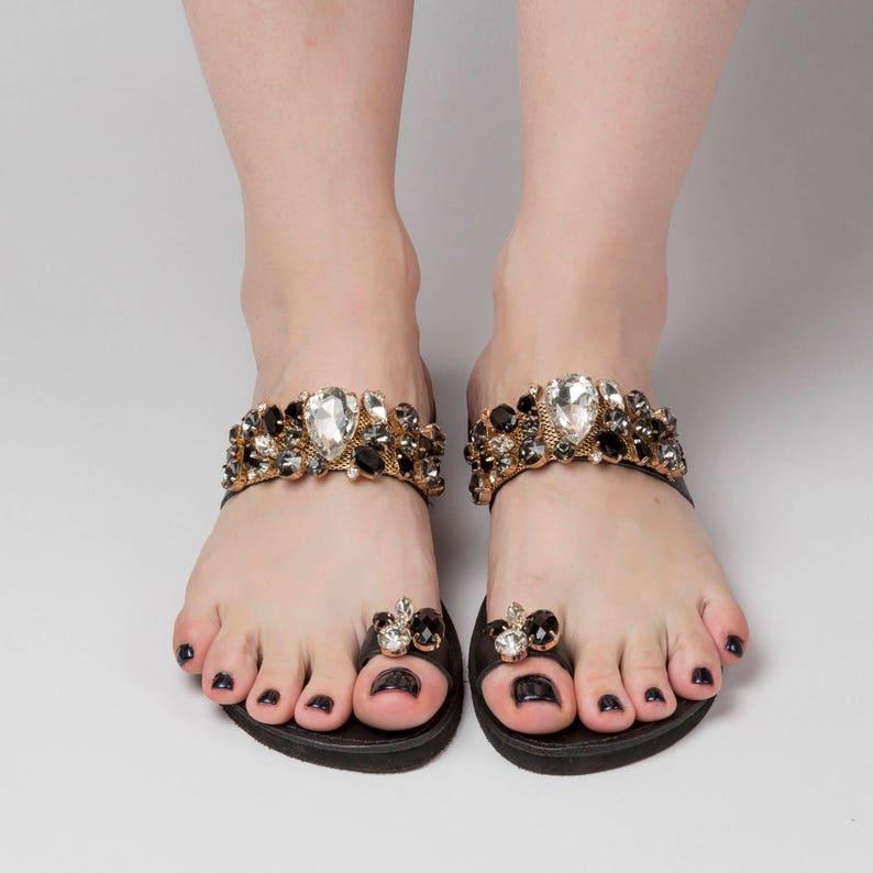 "a24115a0506c9 Free Shipping\Greek sandals ""Ekati""\Luxury sandals\Swarovski shoes\Crystal  shoes\Black sandals\Custom slides\Summer slides"