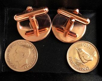 Luxury 1951 Farthing Cufflinks for a 70th birthday Original british Farthings inset in Gold Plated French Cufflinks backs 70th RG Mum Dad
