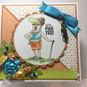 Lets Parr Tee Golf Card Woman Fancy Handmade Greeting 3D Birthday Golfer