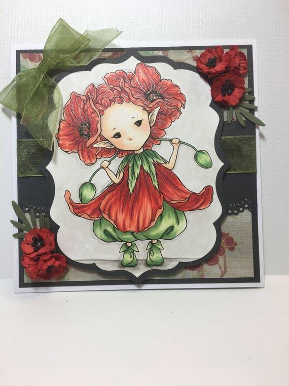 Birthday Card For Her Poppy Sprite Birthday Card Handmade Etsy
