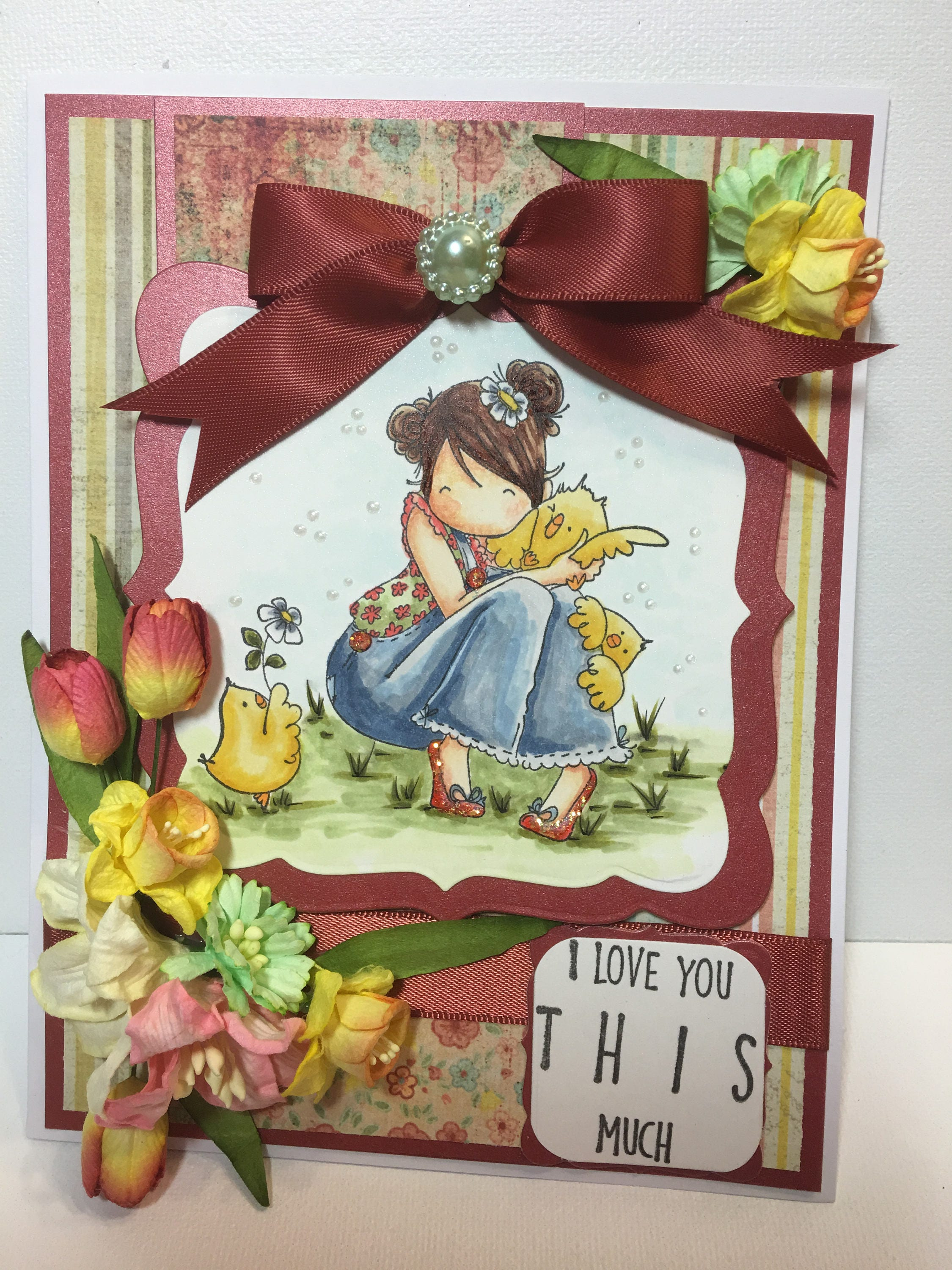 Spring Card Handmade Greeting Card Birthday For Her Card I Love