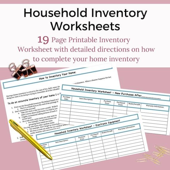 Home Inventory Kit Worksheet Printable | Etsy