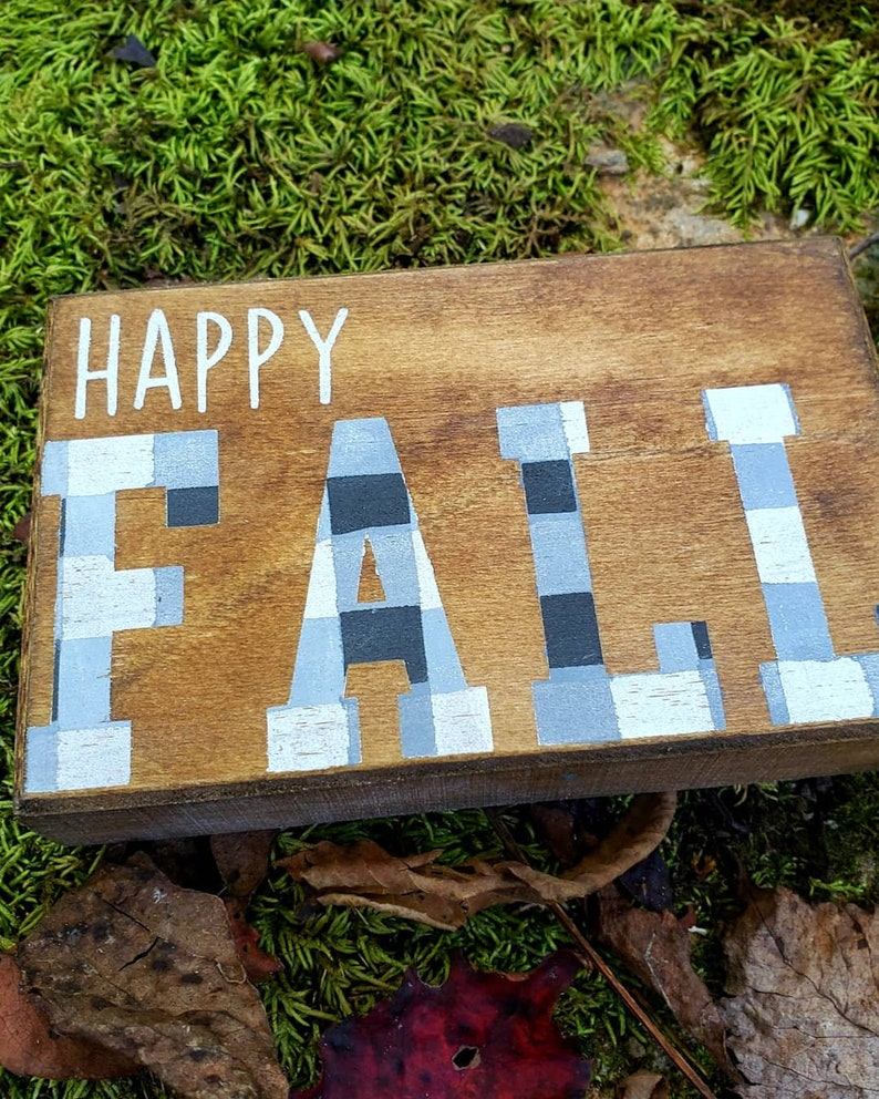 Happy Fall Buffalo Check Wood Shelf Filler 3 x 5