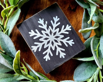 Snowflake 4 x 3.5 Reclaimed Hand Painted Distressed Farmhouse Style Rustic Wood Block Tiered Tray Shelf Filler